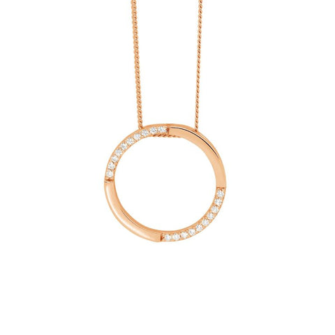 Ellani Sterling Silver Open Circle Pendant with Rose Gold Plate & CZ P824R