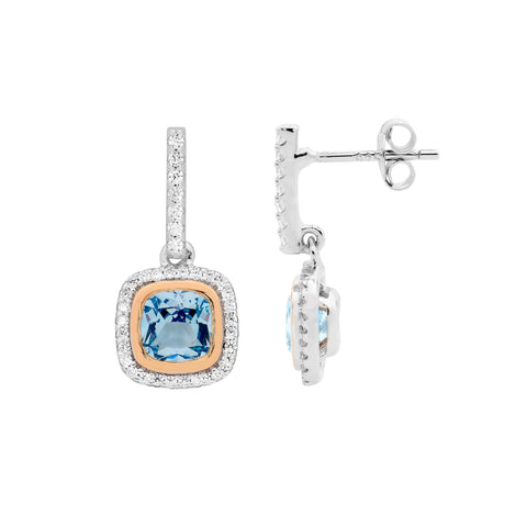 Ellani Sterling Silver Blue Spinel Cushion Cut w Rose Gold Plating Bezel, CZ Halo Drop Earrings E511BL