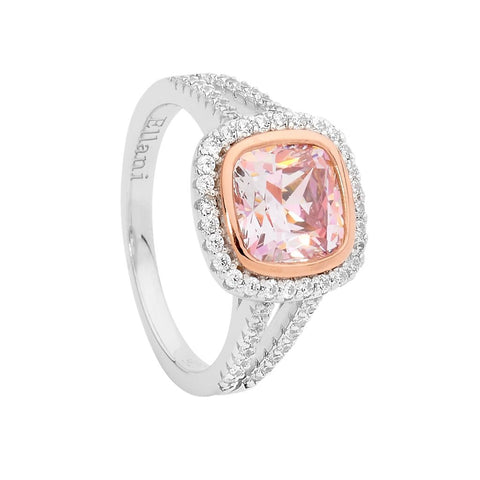 Ellani Sterling Silver Cushion Cut Halo Morganite Coloured CZ Ring R488RM