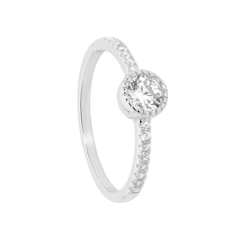 Ellani Sterling Silver CZ Crown Solitaire w CZ Band Ring R484S