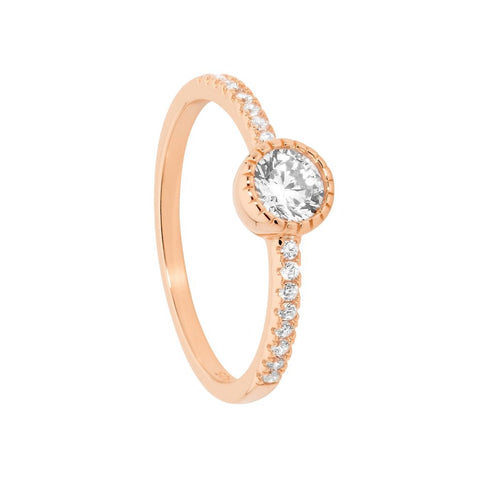Ellani Sterling Silver CZ Crown Solitaire w CZ Band Ring & Rose Gold Plating R484R