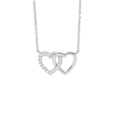 Ellani Sterling Silver CZ Double Heart Pendant with Chain P826S