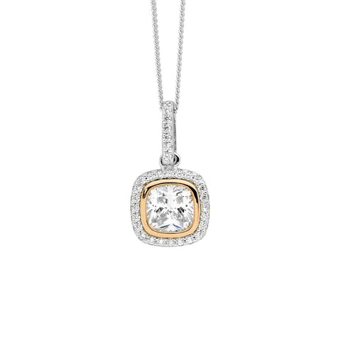 Ellani Sterling Silver CZ Halo Drop Pendant with Rose IP P825R