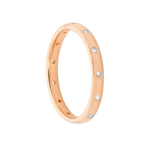 Ellani Sterling Silver CZ Hammer Set Eternity Ring w Rose Gold Plating R483R