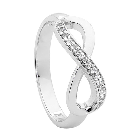 Ellani Sterling Silver CZ Infinity Ring R428S
