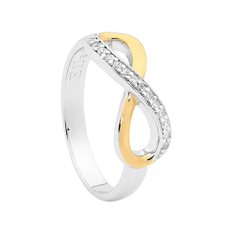 Ellani Sterling Silver CZ Infinity Ring w Yellow Gold Plating R428G