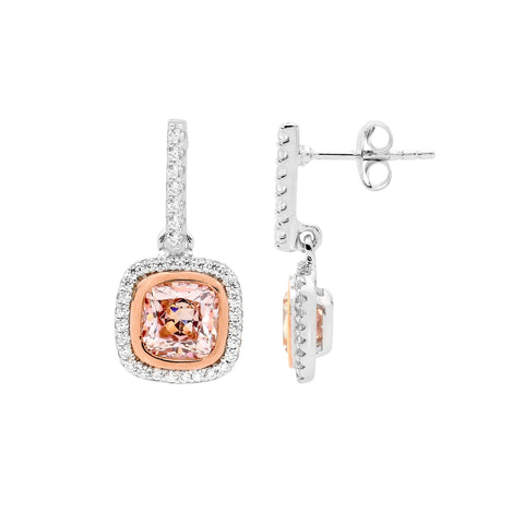 Ellani Sterling Silver Halo Drop Earrings With Rose IP & Morganite Colour CZ E511RM