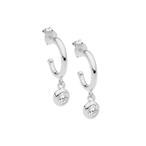 Ellani Sterling Silver Hoop Stud Earrings w CZ Bezel Drop E537S