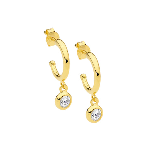 Ellani Sterling Silver Hoop Stud Earrings w CZ Bezel Drop w Gold Plating E537G