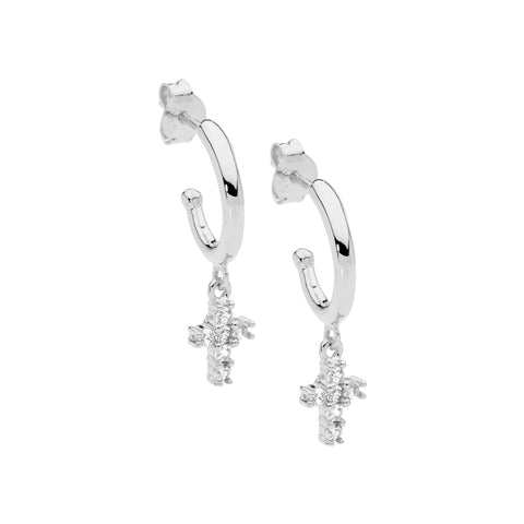 Ellani Sterling Silver Hoop Stud Earrings w Stone Set Hanging Cross E538S