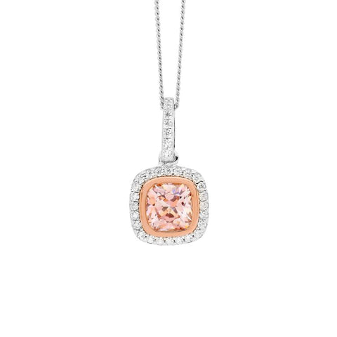 Ellani Sterling Silver Morganite Colour CZ Halo Drop Pendant with Rose IP P825RM