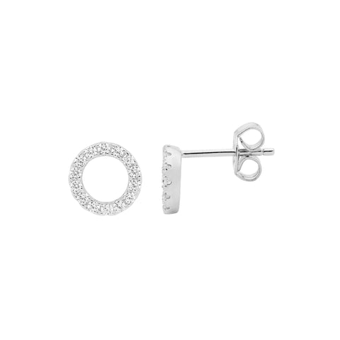 Ellani Sterling Silver Open Circle Stud Earrings w CZ E494S
