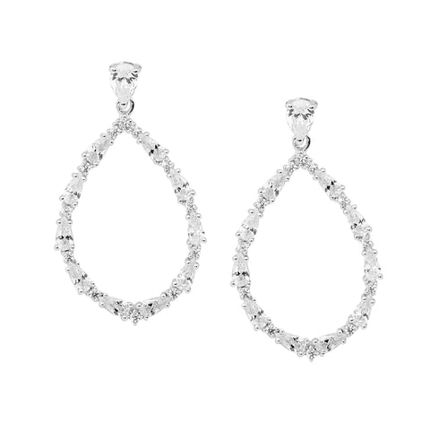 Ellani Sterling Silver Open Tear Drop Earrings w Pear & Round CZ E535S
