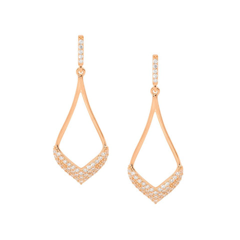 Ellani Sterling Silver Open Tear Drop Earrings w Pave CZ & Rose Gold Plating E536R