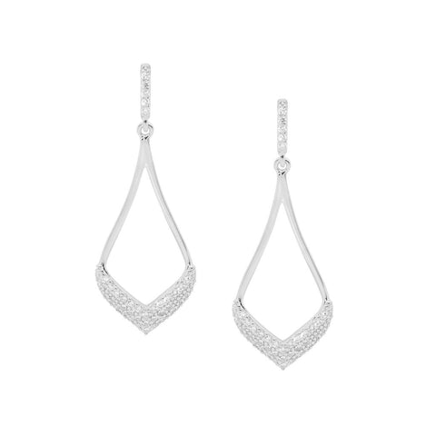 Ellani Sterling Silver Open Tear Drop Earrings w Pave CZ E536S