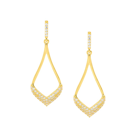 Ellani Sterling Silver Open Tear Drop Earrings w Pave CZ & Gold Plating E536G