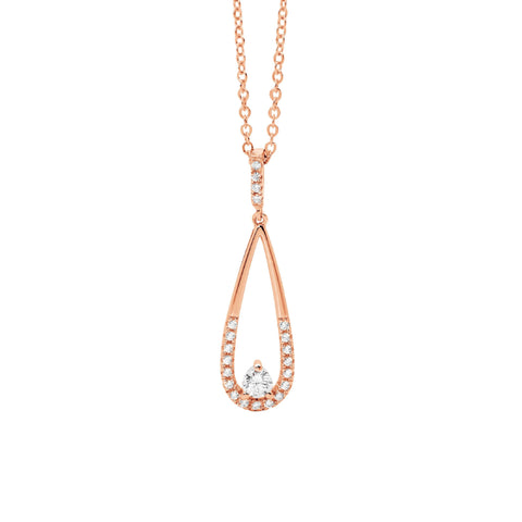 Ellani Sterling Silver Rose Gold Teardrop Pendant with CZ P830R