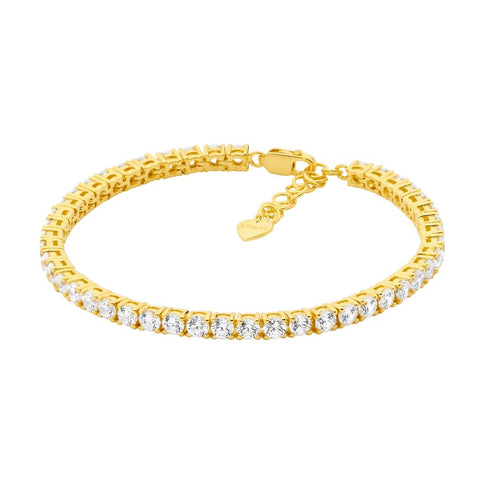 Ellani Sterling Silver Tennis Bracelet Yellow Gold Plate with Round Brilliant CZ B220G