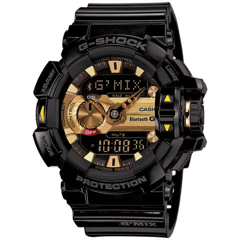 G SHOCK Bluetooth G'MIX Black & Gold Watch GBA-400-1A9