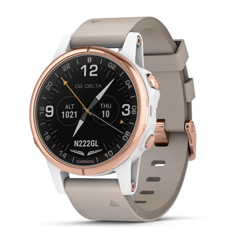Garmin D2™ Delta S - Aviator Watch Rose Gold With Beige Leather Band
