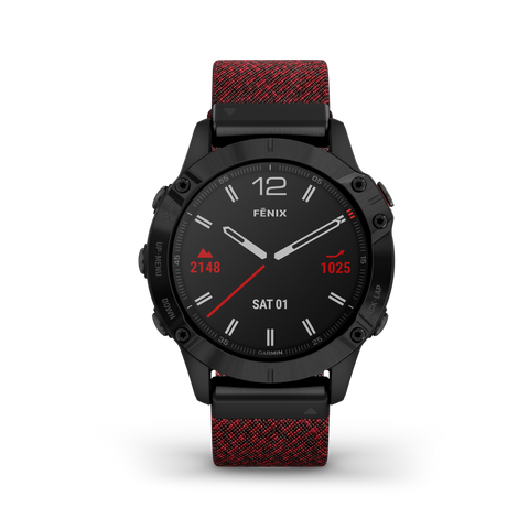 Garmin fēnix® 6 Sapphire Edition - Black DLC w Heathered Red Nylon Band 010-02158-18