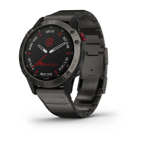 Garmin fēnix® 6 Pro Solar Edition - Titanium Carbon Gray DLC with Titanium DLC Band 010-02410-24