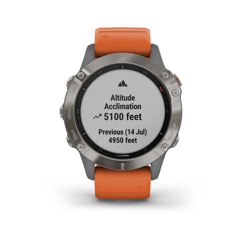 Garmin fēnix® 6 Sapphire Edition - Titanium with Ember Orange Silicone Band 010-02158-15