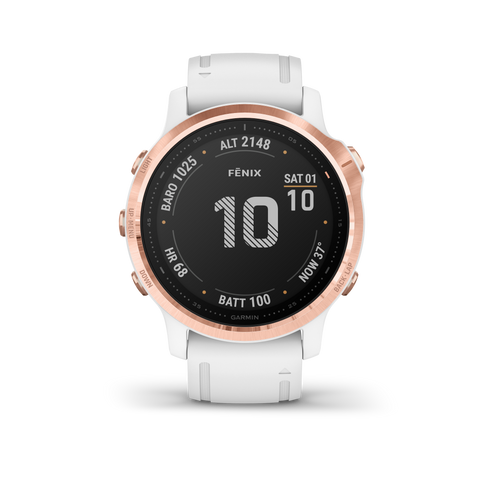 Garmin fēnix® 6S Pro - Rose Gold-tone with White Silcone Band 010-02159-12