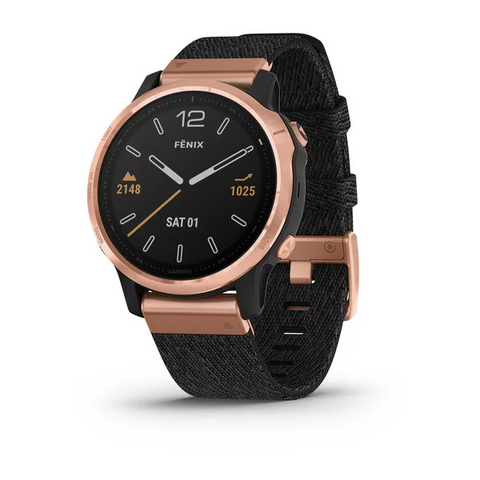 Garmin fēnix® 6S Sapphire Edition - Rose Gold-tone With Heathered Black Nylon Band 010-02159-38
