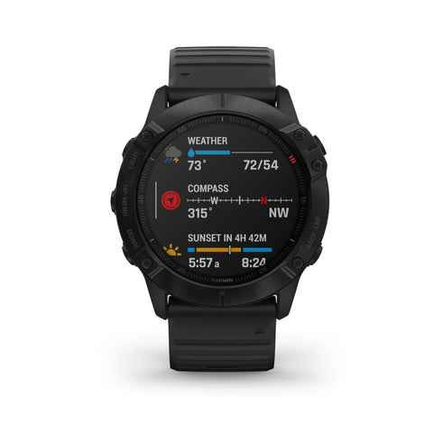 Garmin fēnix® 6X Pro - Black with Black Silicone Band 010-02157-02