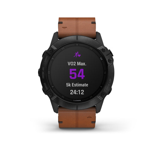 Garmin fēnix® 6X Sapphire Edition - Black DLC With Chestnut Leather Band 010-02157-15