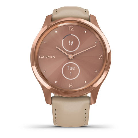 Garmin vívomove® Luxe 18K Rose Gold PVD Stainless Steel & Italian Leather 010-02241-01