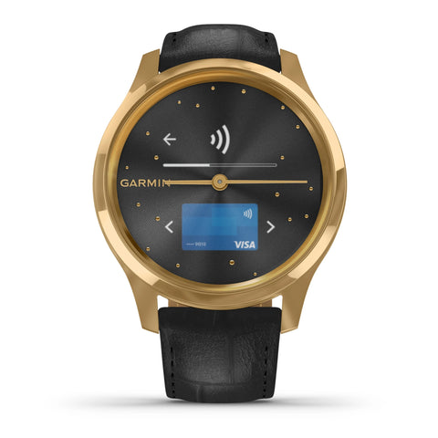Garmin vívomove® Luxe 24K Gold PVD Stainless Case & Black Leather 010-02241-02
