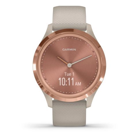 Garmin vívomove® 3S Rose Gold Stainless Steel with Light Sand Case and Silicone Band