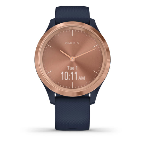 Garmin vívomove® 3S Rose Gold Stainless Steel with Navy Case and Silicone Band