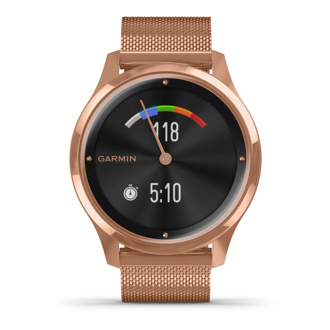 Garmin vívomove® Luxe 18K Rose Gold PVD Stainless Steel Case & Rose Gold Milanese Band 010-02241-04