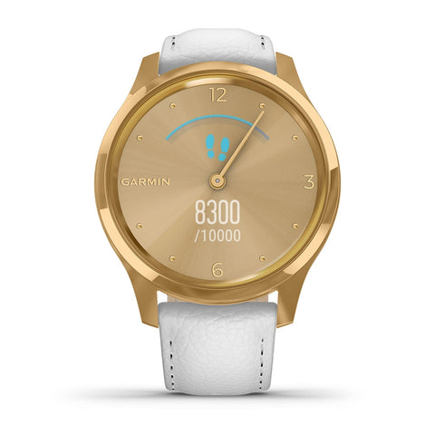 Garmin vívomove® Luxe 24K Gold PVD Stainless Case & White Leather 010-02241-08