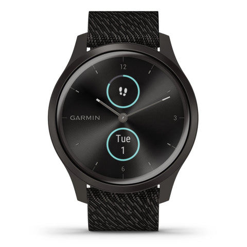 Garmin vívomove® Style Graphite Aluminum Case with Black Pepper Woven Nylon Band 010-02240-03