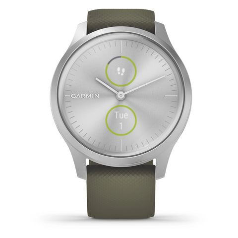 Garmin vívomove® Style Silver Aluminium Case with Moss Silicone Band 010-02240-01