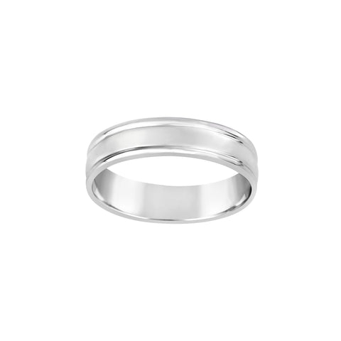 Gents 9K White Gold Half Round Band Ring Q83B