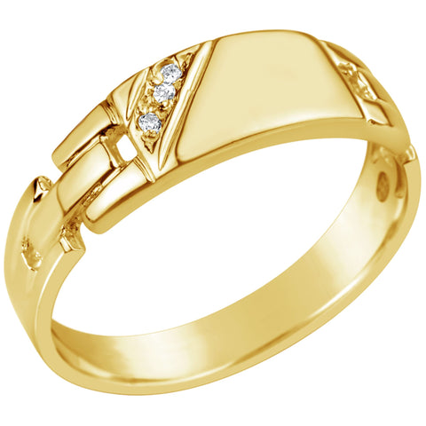 Gents 9K Yellow Gold Diamond Set Link Band Design Ring Q71