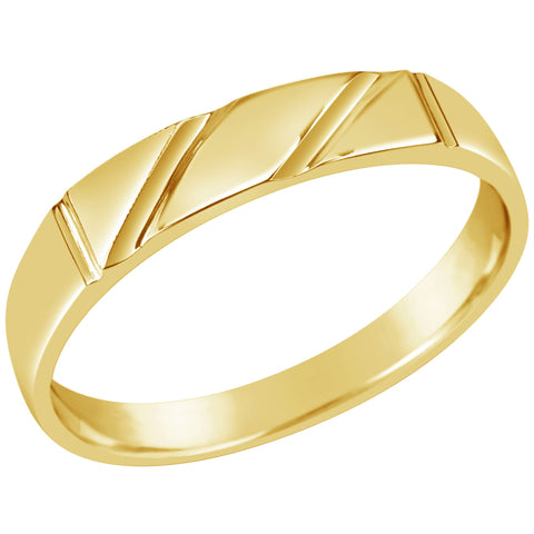 Gents 9K Yellow Gold Dress Ring Q73 Two Lines