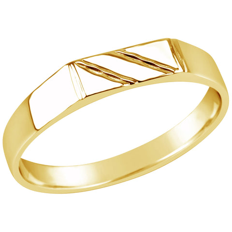 Gents 9K Yellow Gold Dress Ring Q77 Striped Top