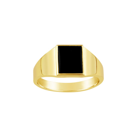 Gents 9K Yellow Gold Rectangular Top Ring Black Onyx Q84A