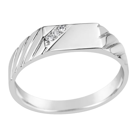 Gents Sterling Silver Diamond Set Fancy Ring Q214