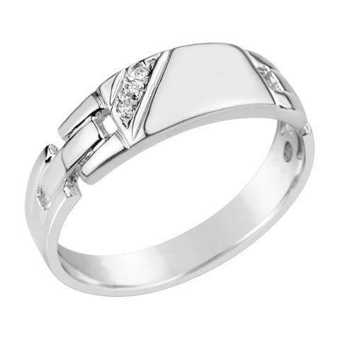 Gents Sterling Silver Diamond Set Link Band Design Ring Q213