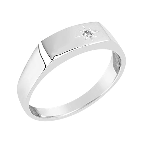 "Gents Sterling Silver Dress Ring ""Star"" Diamond Design Q208"