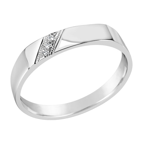 Gents Sterling Silver Dress Ring With 3 Diamonds Q205