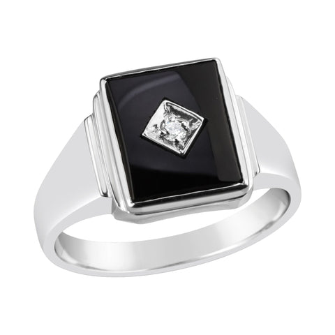 Gents Sterling Silver Onyx with CZ Ring Q216