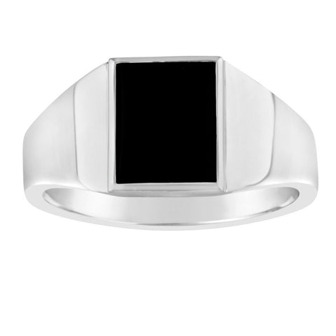 Gents Sterling Silver Rectangular Top Ring Black Onyx Q212B